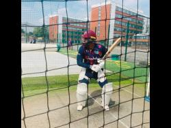 West Indies opener John Cambell bats during a net training session at the Emitrates in Old Trafford.