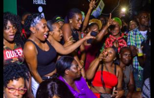 The crowd loving the vibes at the launch of RJR/GLEANER Cross Country Invasion Road Show at Ken's Wildflower Entertainment Hub located in Bayside, Port Henderson Road, Portmore, St Catherine, on Friday night, January 31, 2020.