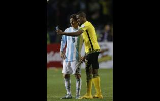 Jamaica's DeShorn Brown takes a selfie with Argentina's Lionel Messi at the end of a Copa America Group B match at the Sausalito Stadium in Vina del Mar, Chile, in June 2015.