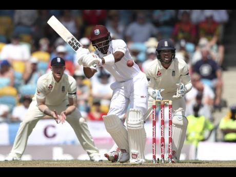 Windies Shai Hope plays a shot during day one of the first cricket Test match against England at the Kensington Oval in Bridgetown, Barbados, on Wednesday, January 23, 2019.